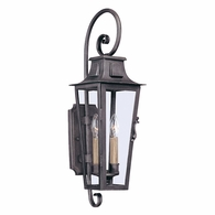 B2962 Troy Hand-Forged Iron Exterior Parisian Square 2Lt Wall Lantern Medium with Aged Pewter Finish