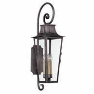 B2963 Troy Hand-Forged Iron Exterior Parisian Square 4Lt Wall Lantern Large with Aged Pewter Finish