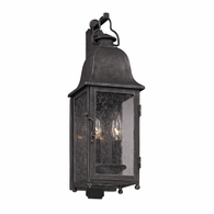 B3211 Troy Hand-Worked Iron Exterior Larchmont 2Lt Wall Lantern Small with Aged Pewter Finish