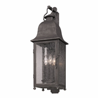 B3212 Troy Hand-Worked Iron Exterior Larchmont 3Lt Wall Lantern Medium with Aged Pewter Finish