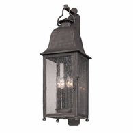 B3213 Troy Hand-Worked Iron Exterior Larchmont 4Lt Wall Lantern Large with Aged Pewter Finish