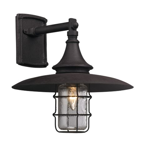 B3221 Troy Hand-Worked Iron Exterior Allegheny 1Lt Wall Lantern Medium with Centennial Rust Finish
