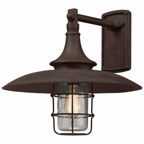 B3222 Troy Hand-Worked Iron Exterior Allegheny 1Lt Wall Lantern Large with Centennial Rust Finish