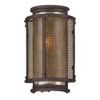 B3271 Troy Hand-Worked Iron Exterior Copper Mountain 1Lt Wall Lantern Small with Copper Mountain Bronze Finish