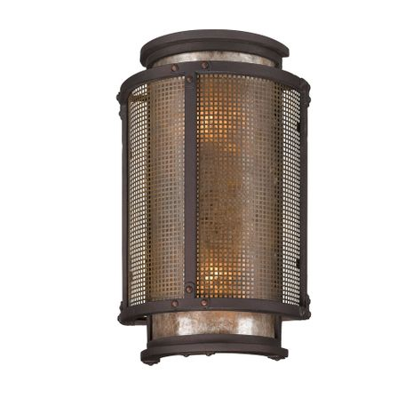 B3272 Troy Hand-Worked Iron Exterior Copper Mountain 2Lt Wall Lantern Medium with Copper Mountain Bronze Finish