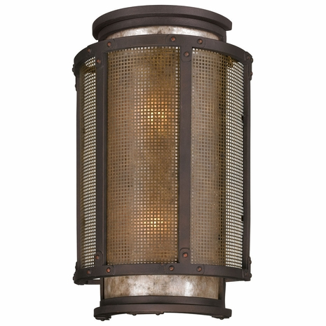 B3273 Troy Hand-Worked Iron Exterior Copper Mountain 2Lt Wall Lantern Large with Copper Mountain Bronze Finish