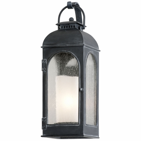 B3281 Troy Cast Aluminum Exterior Derby 1Lt Wall Lantern Small with Antique Iron Finish