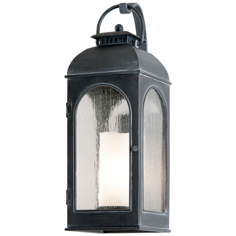 B3282 Troy Cast Aluminum Exterior Derby 1Lt Wall Lantern Medium with Antique Iron Finish
