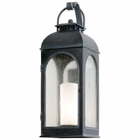 B3283 Troy Cast Aluminum Exterior Derby 1Lt Wall Lantern Large with Antique Iron Finish