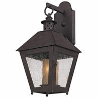 B3292 Troy Hand-Forged Iron Exterior Sagamore 1Lt Wall Lantern Small with Centennial Rust Finish