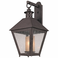 B3294 Troy Hand-Forged Iron Exterior Sagamore 1Lt Wall Lantern Large with Centennial Rust Finish
