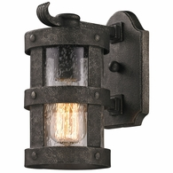 B3311 Troy Hand-Worked Iron Exterior Barbosa 1Lt Wall Lantern Small with Barbosa Bronze Finish