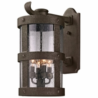 B3313 Troy Hand-Worked Iron Exterior Barbosa 4Lt Wall Lantern Large with Barbosa Bronze Finish