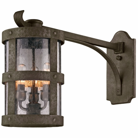 B3315 Troy Hand-Worked Iron Exterior Barbosa 3Lt Wall Lantern Extended Arm Medium with Barbosa Bronze Finish