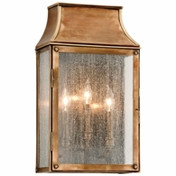 B3423 Troy Solid Brass Exterior Beacon Hill 3Lt Wall Lantern Large with Heirloom Brass Finish