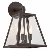 B3433-C Troy Hand-Worked Iron Exterior Amherst 4Lt Wall Lantern Large with River Valley Rust Finish