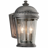 B3561 Troy Solid Aluminum Exterior Ambassador 2Lt Wall Lantern Small with Aged Pewter Finish