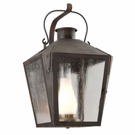 B3763NR Troy Solid Brass Exterior Nantucket 1Lt Wall Lantern Large with Natural Rust Finish