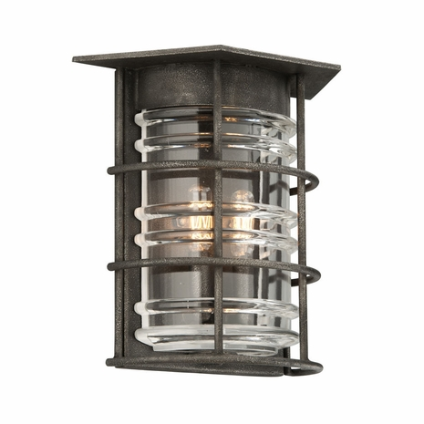 B3792 Troy Exterior Brunswick Sconce 2Lt Hand-Worked Iron Wall Mount Lantern in Aged Pewter Finish