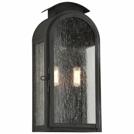 B4402CI Troy Solid Brass Exterior Copley Square 2Lt Wall Medium with Charred Iron Finish