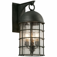 B4432 Troy Hand-Worked Iron Exterior Charlemagne 3Lt Wall Medium with Aged Pewter Finish