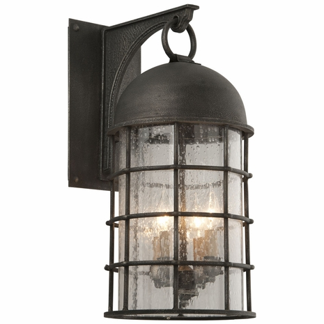 B4433 Troy Hand-Worked Iron Exterior Charlemagne 4Lt Wall Large with Aged Pewter Finish
