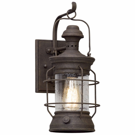 B5051 Troy Hand-Worked Iron Exterior Atkins 1Lt Wall Lantern Small with Centennial Rust Finish