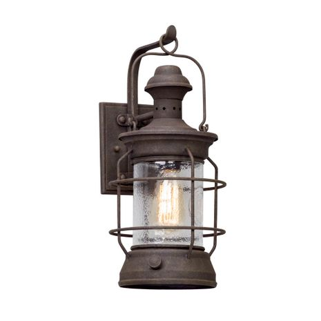 B5052 Troy Hand-Worked Iron Exterior Atkins 1Lt Wall Lantern Medium with Centennial Rust Finish