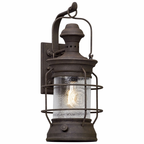 B5053 Troy Hand-Worked Iron Exterior Atkins 1Lt Wall Lantern Large with Centennial Rust Finish
