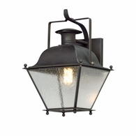B5071CI Troy Solid Brass Exterior Wellesley 1Lt Wall Lantern Small with Charred Iron Finish