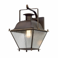 B5071NR Troy Solid Brass Exterior Wellesley 1Lt Wall Lantern Small with Natural Rust Finish