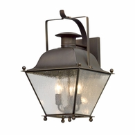 B5072NR Troy Solid Brass Exterior Wellesley 3Lt Wall Lantern Medium with Natural Rust Finish