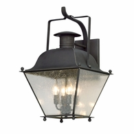 B5073CI Troy Solid Brass Exterior Wellesley 4Lt Wall Lantern Large with Charred Iron Finish
