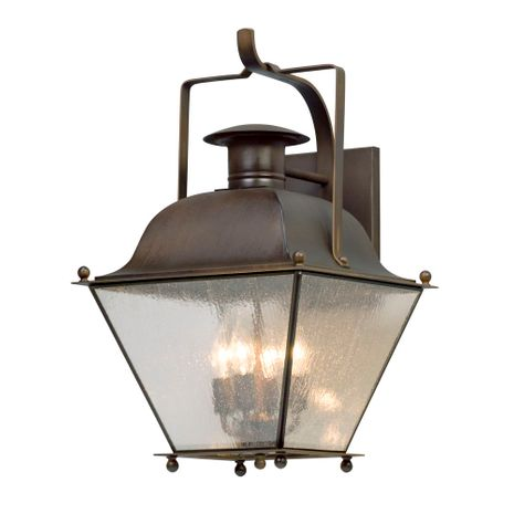 B5073NR Troy Solid Brass Exterior Wellesley 4Lt Wall Lantern Large with Natural Rust Finish
