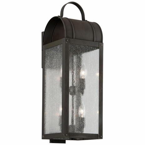 B5093CI Troy Solid Brass Exterior Bostonian 4Lt Wall Lantern Large with Charred Iron Finish
