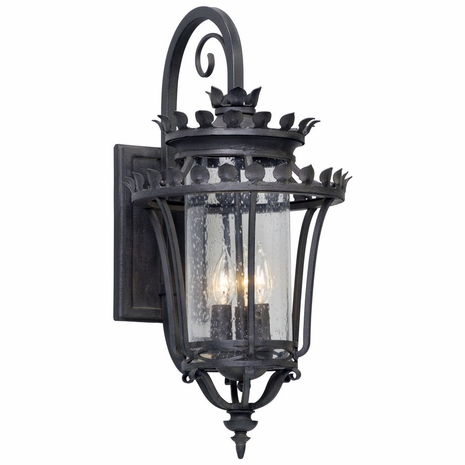 B5132 Troy Hand-Forged Iron And Aluminum Exterior Greystone 3Lt Wall Lantern Medium with Forged Iron Finish