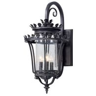 B5133 Troy Hand-Forged Iron And Aluminum Exterior Greystone 4Lt Wall Lantern Large with Forged Iron Finish