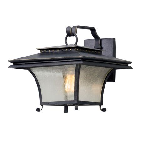 B5142 Troy Hand-Forged Iron And Aluminum Exterior Grammercy 1Lt Wall Lantern Medium with Forged Iron Finish