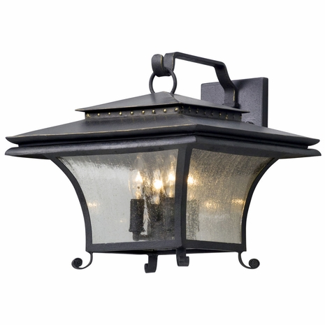 B5143 Troy Hand-Forged Iron And Aluminum Exterior Grammercy 4Lt Wall Lantern Large with Forged Iron Finish