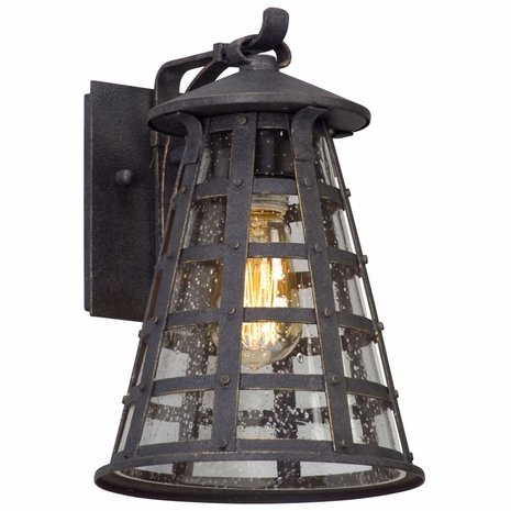 B5161 Troy Solid Aluminum Exterior Benjamin 1Lt Wall Lantern Small with Vintage Iron Finish