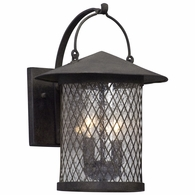 B5172 Troy Hand-Worked Iron Exterior Altamont 2Lt Wall Lantern Medium with French Iron Finish