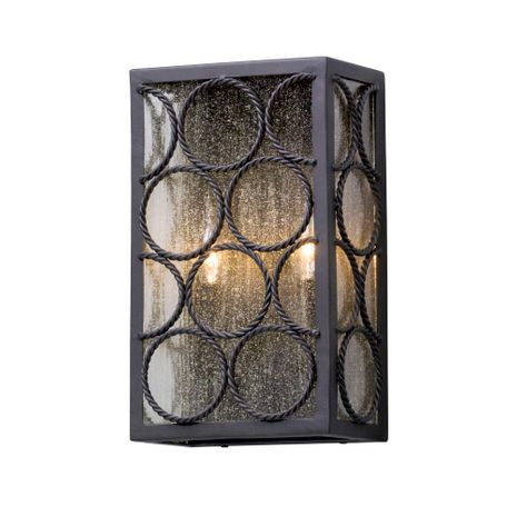 B5222 Troy Solid Aluminum Exterior Bacchus 2Lt Wall Lantern Medium with Textured Bronze Finish