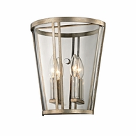 B5842 Troy Hand-Worked Iron Interior Trapeze 2Lt Wall Sconce with Champagne Silver Leaf Finish