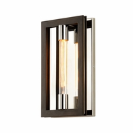 B6181 Troy Hand-Worked Iron Interior Enigma 1Lt Wall Sconce with Bronze With Polished Stainless Finish