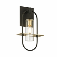 B6391 Troy Hand-Worked Iron And Brass Exterior Smyth 1Lt Wall with Dark Bronze And�Brushed Brass Finish