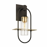 B6392 Troy Hand-Worked Iron And Brass Exterior Smyth 1Lt Wall with Dark Bronze And Brushed Brass Finish