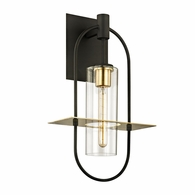 B6393 Troy Hand-Worked Iron And Brass Exterior Smyth 1Lt Wall with Dark Bronze And�Brushed Brass Finish
