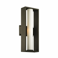 B6492 Troy Solid Aluminum Exterior Mondrian 1Lt Wall with Textured Bronze Finish