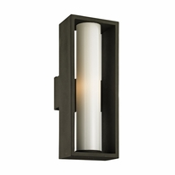 B6493 Troy Solid Aluminum Exterior Mondrian 1Lt Wall with Textured Bronze Finish