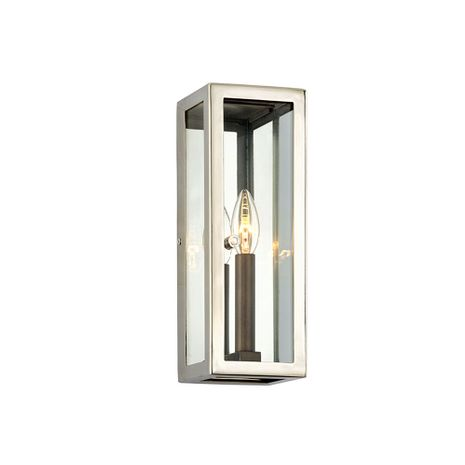 B6511 Troy Stainless Steel Exterior Morgan 1Lt Wall with Bronze With Polished Stainless Finish